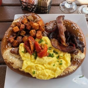 pretzel with eggs,bacon, and potatoes