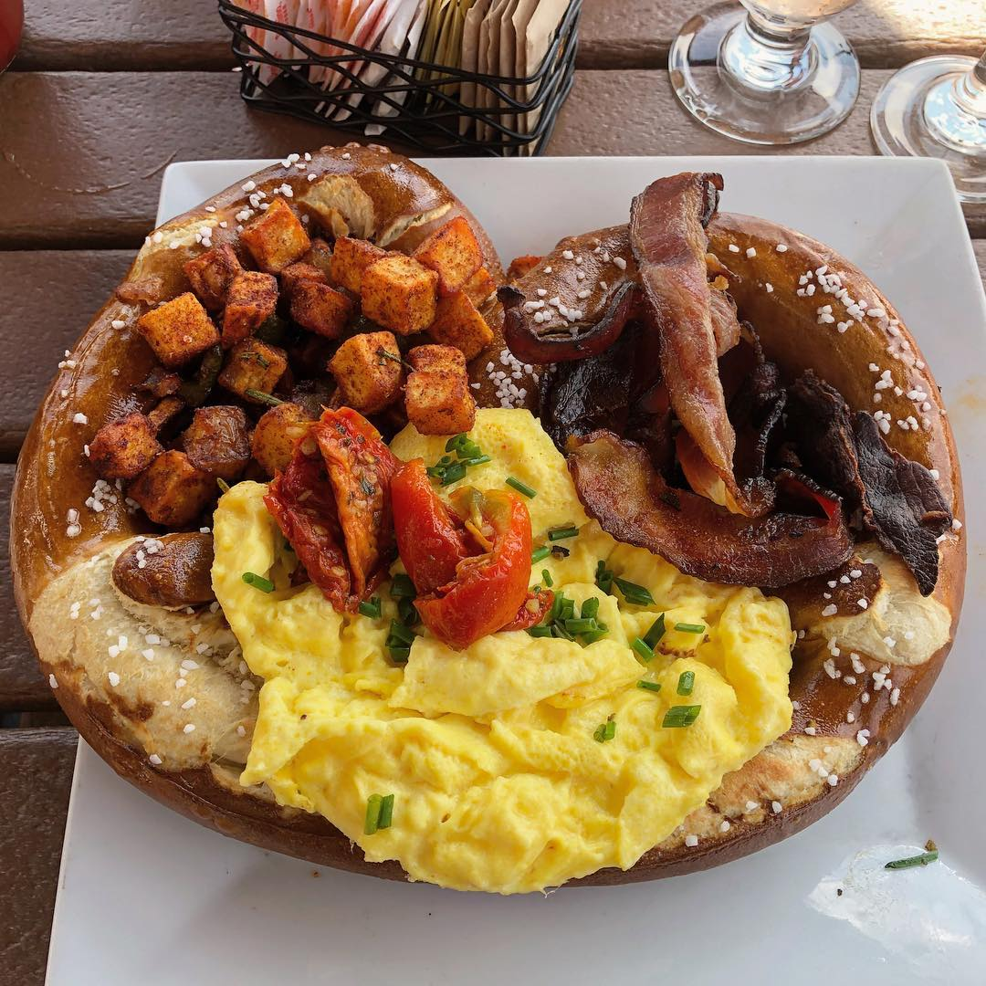 The Hasselhoff Pretzel with scrambled eggs, homefries, and bacon