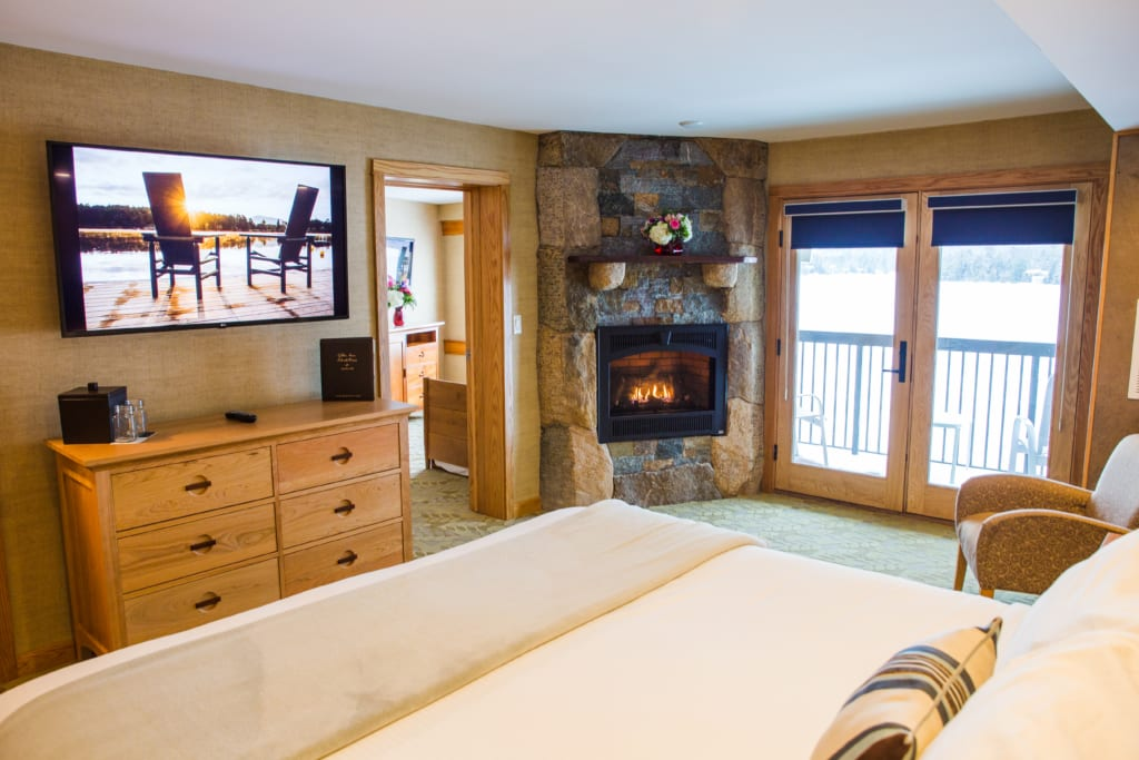 views of the fireplace in skylight suite