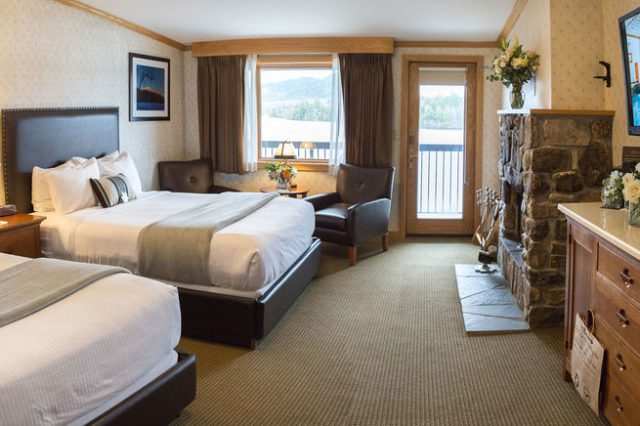 Two queen beds and views in the Phelps Specialty Room